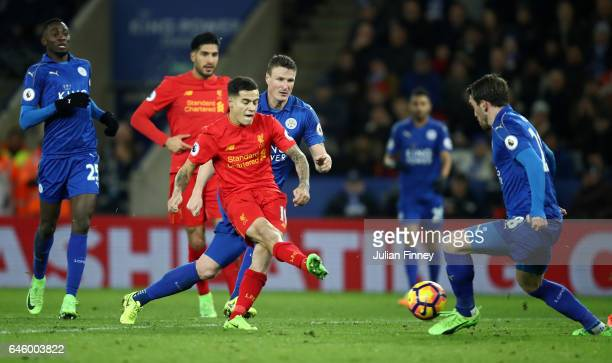 Philippe Coutinho of Liverpool scores his sides first goal during the Premier League match between Leicester City and Liverpool at The King Power...