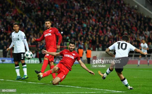 Philippe Coutinho of Liverpool scores his sides first goal during the UEFA Champions League group E match between Spartak Moskva and Liverpool FC at...