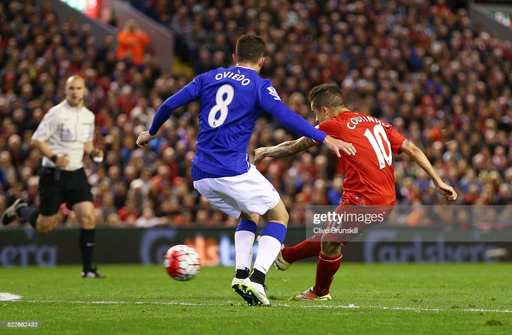 Philippe Coutinho of Liverpool scores his sides fourth goal during the Barclays Premier League match between Liverpool and Everton at Anfield, April 20, 2016, Liverpool, England