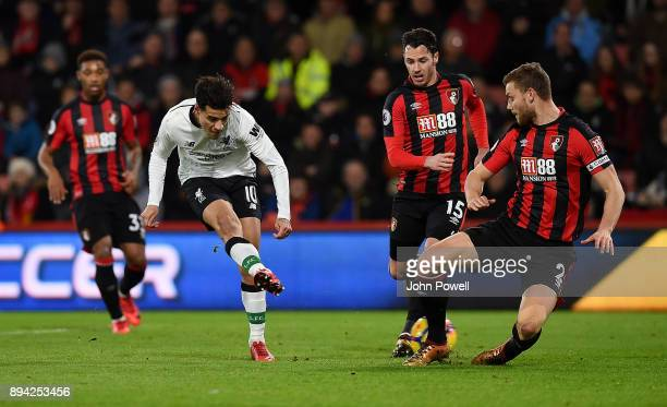 Philippe Coutinho of Liverpool scores the opening goal during the Premier League match between AFC Bournemouth and Liverpool at Vitality Stadium on...