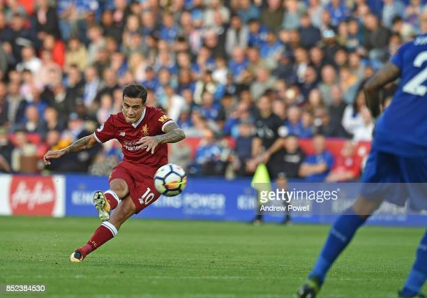 Philippe Coutinho of Liverpool scores The Second Goal during the Premier League match between Leicester City and Liverpool at The King Power Stadium...