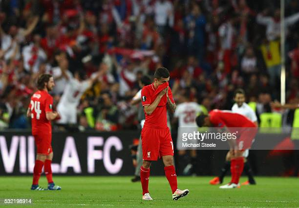 Philippe Coutinho of Liverpool shows his dejection after the UEFA Europa League Final match between Liverpool and Sevilla at St JakobPark on May 18...