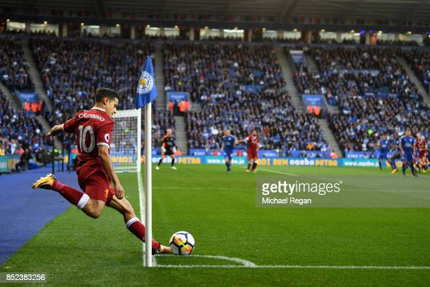 Philippe Coutinho of Liverpool takes a corner kick during the Premier League match between Leicester City and Liverpool at The King Power Stadium on...