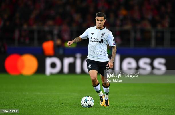 Philippe Coutinho of Liverpool takes the ball forward during the UEFA Champions League group E match between Spartak Moskva and Liverpool FC at...