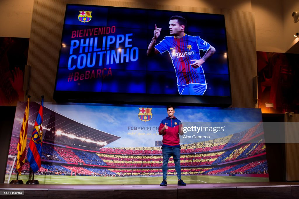 Philippe Coutinho poses prior to signing his new contract with FC Barcelona at Camp Nou on January 7, 2018 in Barcelona, Spain. The Brazilian player signed from Liverpool, has agreed a deal with the Catalan club until 2023 season.