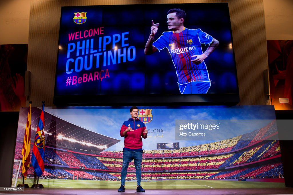 New Barcelona Signing Philippe Coutinho Unveiled : News Photo