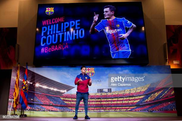 Philippe Coutinho poses prior to signing his new contract with FC Barcelona at Camp Nou on January 7 2018 in Barcelona Spain The Brazilian player...