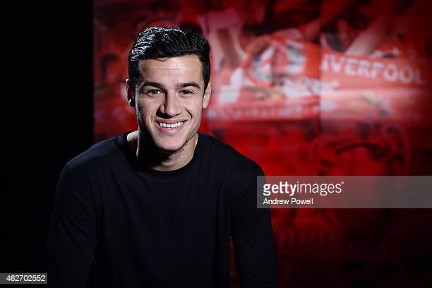 Philippe Coutinho signs a new contract to stay at Liverpool at Melwood Training Ground on February 3 2015 in Liverpool England