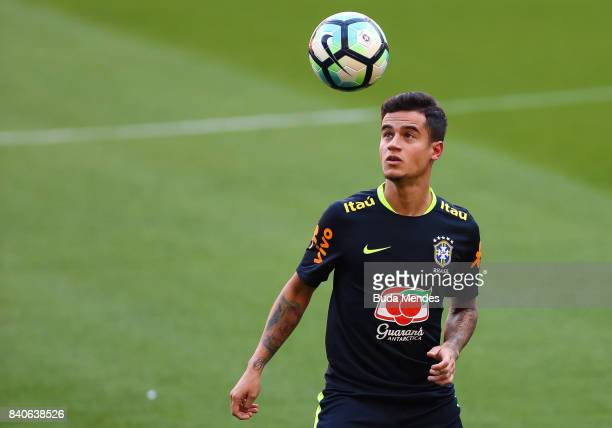 Philippe Coutinho takes part in a training session at the Beira Rio Stadium on August 29 2017 in Porto Alegre Brazil ahead of their 2018 FIFA World...
