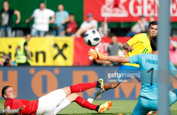 Philippe Coutino of Brazil scores against Austria during an International Friendly match between Austria and Brazil at Ernst Happel Stadium on June...
