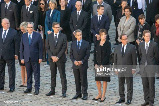 Philippe Dallier, Francoise Nyssen, Jean-Michel Blanquer, Nicolas Sarkozy, Carla Bruni Sarkozy and Francois Hollande attend the national tribute to...