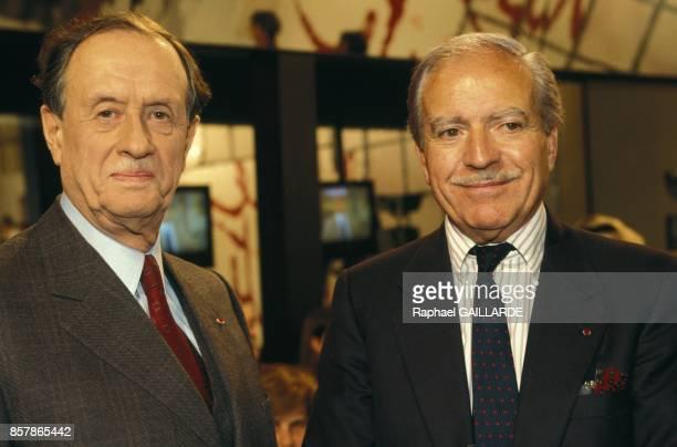 Philippe de Gaulle et Maurice Herzog sur le plateau de l'emission de televison L'Heure de Verite le 20 mai 1994 a Paris France