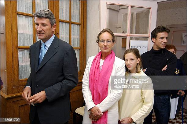 Philippe de Villiers votes in the French Referendum on the European Constitution In Les Herbiers France On May 29 2005Philippe de Villiers with wife...