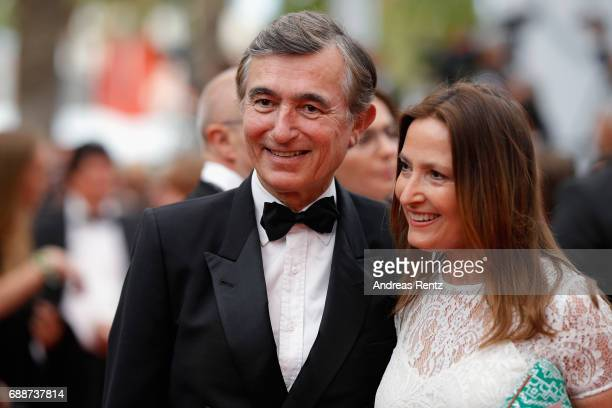 Philippe DousteBlazy and his wife MarieYvonne attend Amant Double Red Carpet Arrivals during the 70th annual Cannes Film Festival at Palais des...