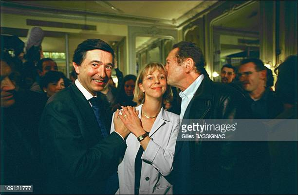 Philippe DousteBlazy Wins The Municipal Election In Toulouse On March 18Th 2001 In Toulouse France In A Cafe With The Former Mayor Dominique Baudis...