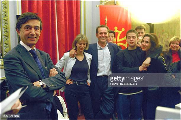 Philippe DousteBlazy Wins The Municipal Election In Toulouse On March 18Th 2001 In Toulouse France In The Capitole With The Former Mayor Dominique...
