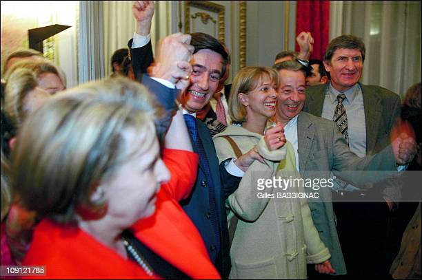Philippe DousteBlazy Wins The Municipal Election In Toulouse On March 18Th 2001 In Toulouse France In The Capitole With Florence Baudis And Walter...