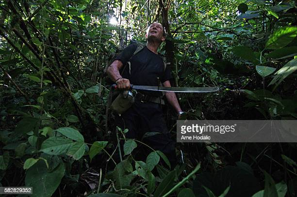 Philippe Esnos French treasure hunter in the Amazon jungle To reach the hypothetical treasure of Atahualpa he has to walk one week through the jungle