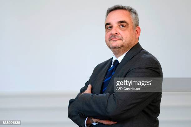 Philippe Foussier, Grand Master of France's Grand Orient , the largest Masonic organisation in France, poses after a press conference on August 25,...