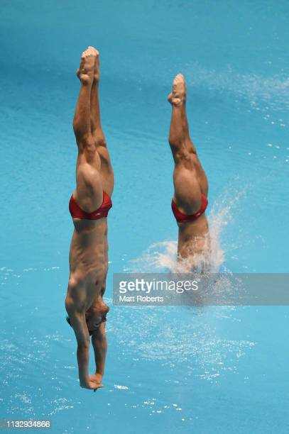 Philippe Gagne and Francois ImbeauDulac of Canada compete during the Men's 3m Synchro Springboard Final on day one of the FINA Diving World Cup...