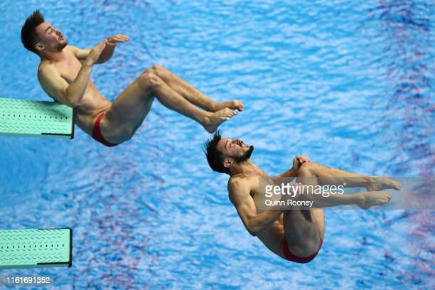 Philippe Gagne and Francois ImbeauDulac of Canada compete in the Men's 3m Synchro Springboard preliminary round on day two of the Gwangju 2019 FINA...