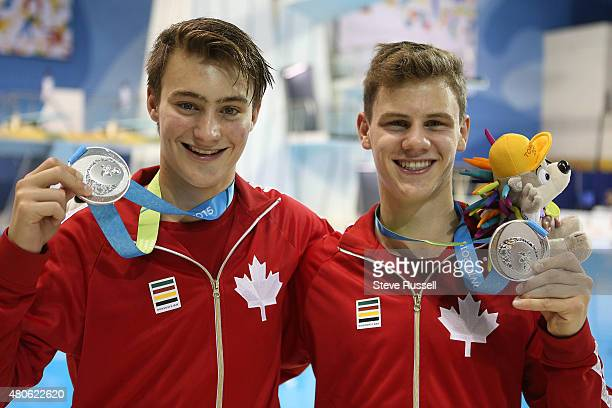 TORONTO ON JULY 13 Philippe Gagne and Vincent Riendeau win the silver in themen's 10 metre synchronized platform diving final at the Pan Am Games at...