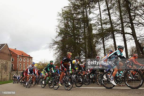 Philippe Gilbert of Begium and the BMC Racing Team rides in the pelton as they climb a hill on the way to Bastogne during the 98th LiegeBastogneLiege...