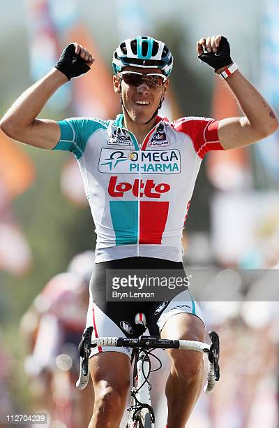 Philippe Gilbert of Belgium and Omega PharmaLotto crosses the finish line to win the 75th La Fleche Wallonne 2011 Cycle Race from Charleroi to Huy on...