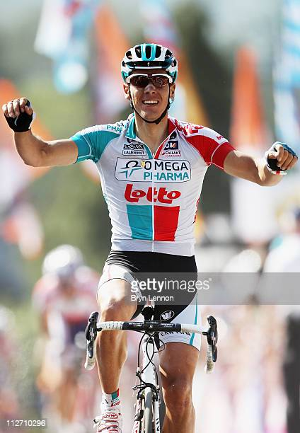 Philippe Gilbert of Belgium and Omega Pharma-Lotto crosses the finish line to win the 75th La Fleche Wallonne 2011 Cycle Race from Charleroi to Huy,...