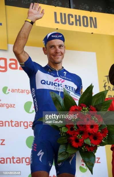 Philippe Gilbert of Belgium and Quick Step Floors receives the award for stages best fighter following stage 16 of Le Tour de France 2018 between...