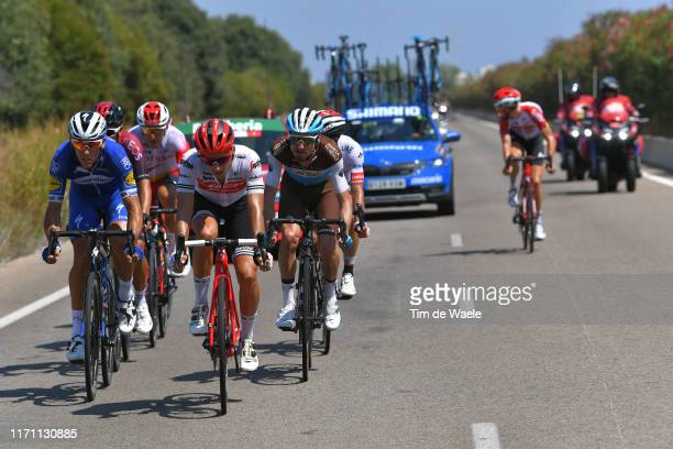 Philippe Gilbert of Belgium and Team Deceuninck-QuickStep / Gianluca Brambilla of Italy and Team Trek-Segafredo / Quentin Jauregui of France and Team...
