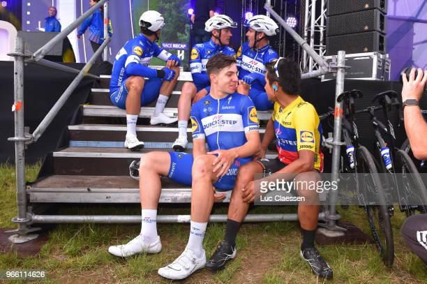 Philippe Gilbert of Belgium and Team QuickStep Floors / C of Colombia and Team QuickStep Floors / Yves Lampaert of Belgium and Team QuickStep Floors...