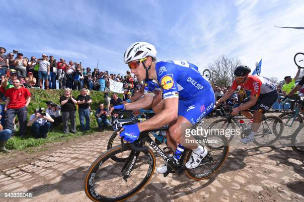 Philippe Gilbert of Belgium and Team Quick-Step Floors / Pave Cobblestones / Fans / Public / during the 116th Paris - Roubaix 2018 a 257km race from...