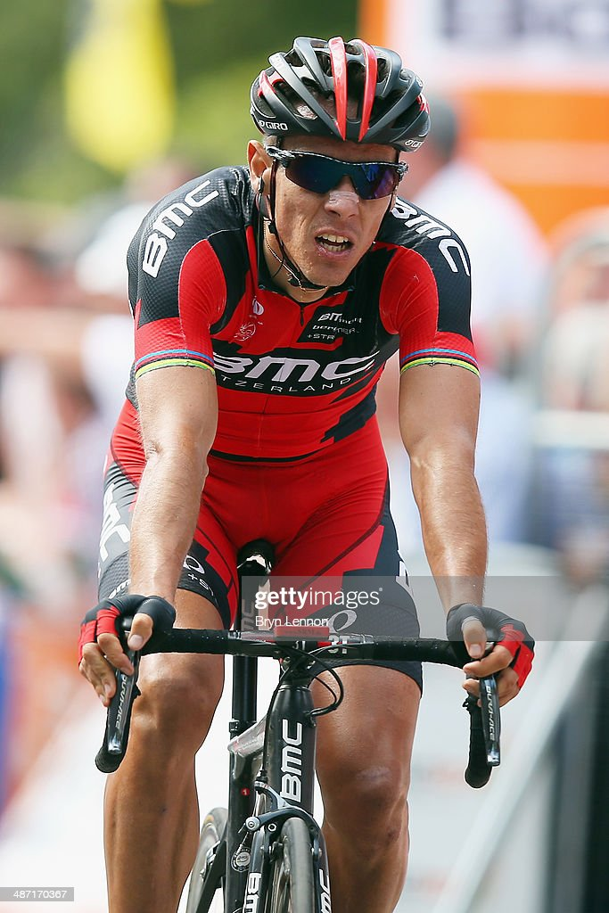 Philippe Gilbert of Belgium and the BMC Racing Team crosses the finish line during the 2014 La Fleche Wallonne race on April 23, 2014 in Huy, Belgium.