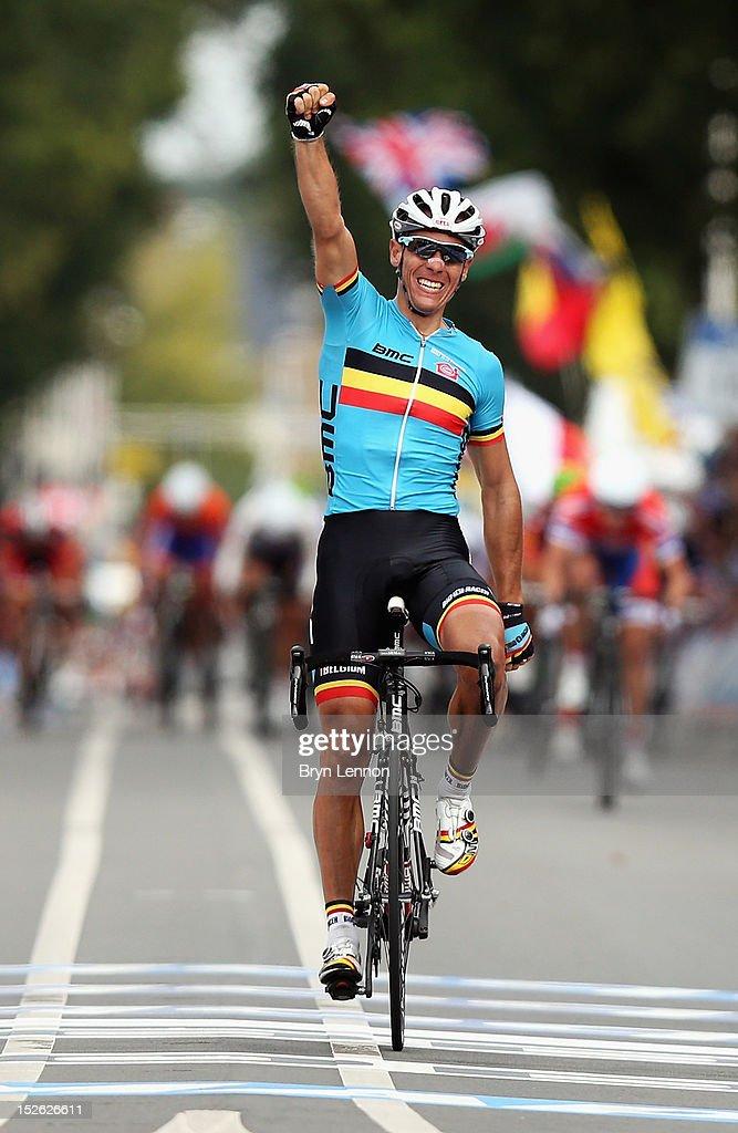 Philippe Gilbert of Belgium celebrates as he crosses the finishline to win the Men's Elite Road Race on day eight of the UCI Road World Championships on September 23, 2012 in Valkenburg, Netherlands.