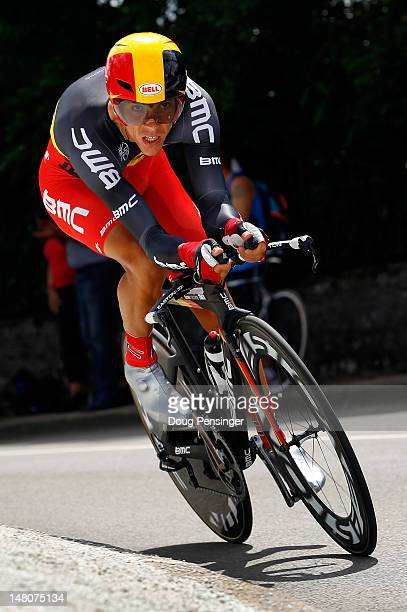 Philippe Gilbert of Belgium races to 31st place in the individual time trial in stage nine of the 2012 Tour de France from Arc-et-Senans to Besancon...