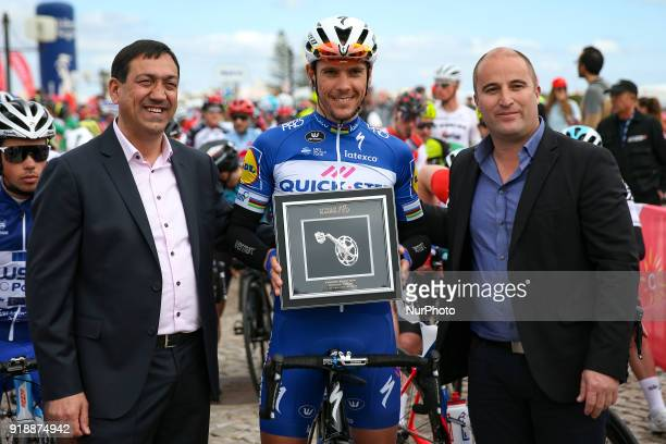 Philippe Gilbert of QuickStep Floors honored before the 2nd stage of the cycling Tour of Algarve between Sagres and Alto do Foia on February 15 2018