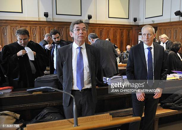 Philippe Goebel general manager of Total Petrochemicals France and Claude Lebeau former director of Total Petrochemicals Carling arrive to attend the...