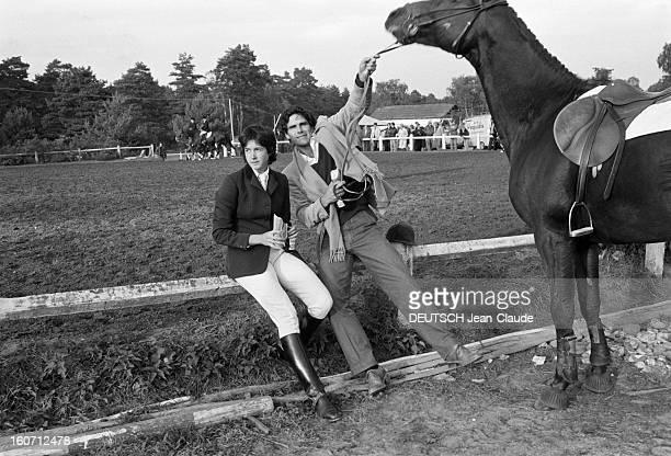 Philippe Guibot And His Wife Jacinta Giscard D'estaing. En France, en octobre 1979, à l'occasion des championnats de France de concours hippiques,...