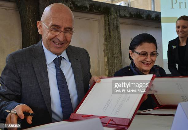 Philippe Gustin , French Ambassador to Romania, and Romanian Minister of Education Ecaterina Andronescu cut the inaugural ribbon of a regional center...