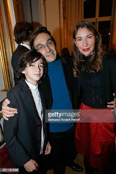 Philippe Haim and his childrens Max and Camille at Laurence Haim Is Honoured With The Insignes De Chevalier De La Legion D'Honneur at Salons...