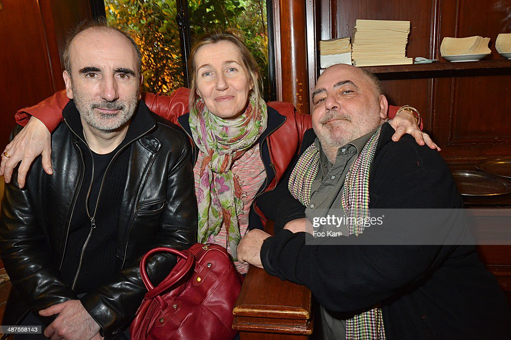 Philippe Harel, Sylvie Bourgeois HarelÊand Marc Cohen attend the Francis Boussard's and Nadine Carpentier's : Private Cocktail At Cafe de Flore on April 30, 2014 in Paris, France.