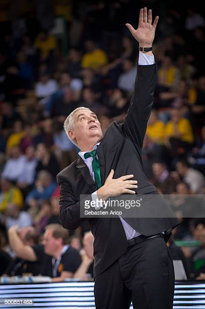 Philippe Herve Head Coach of Limoges CSP gestures during the Turkish Airlines Euroleague Basketball Regular Season Round 9 game between Limoges CSP v...