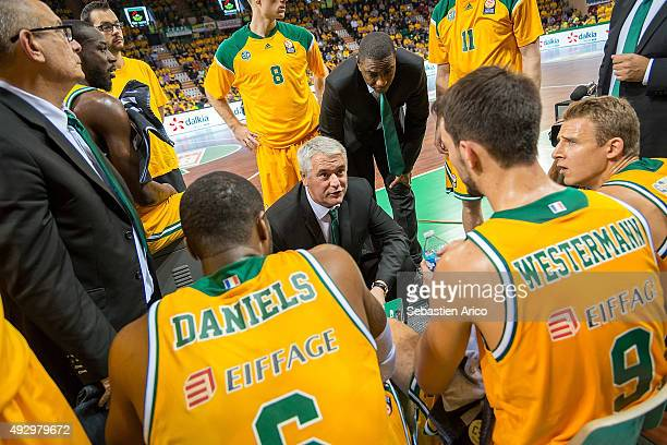 Philippe Herve Head Coach of Limoges CSP talking during time out at the Turkish Airlines Euroleague Basketball Regular Season Date 1 game Limoges CSP...