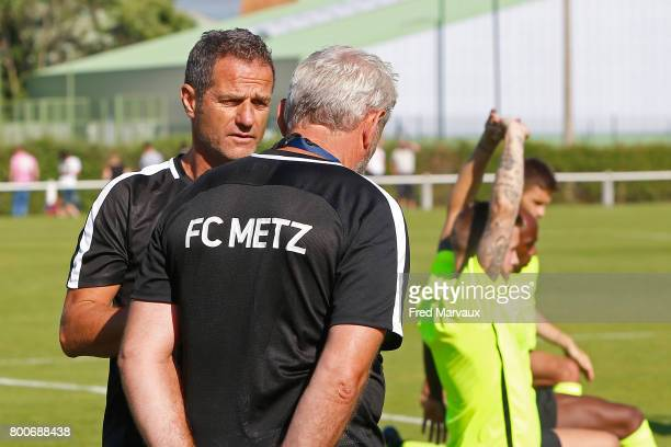 Philippe Hinschberger coach of Metz and Gilles Bourges coach assistant of Metz during a training session of Metz in Metz France on 24th June 2017