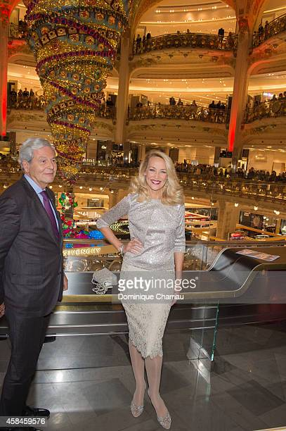 Philippe Houze and Jerry Hall attend the Galeries Lafayette Christmas Decorations Inauguration In Paris at Galeries Lafayette on November 5 2014 in...