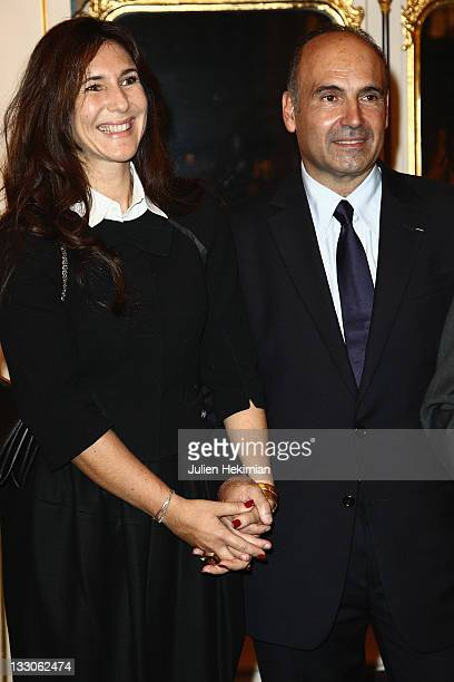 Philippe Journo and his wife Karine are pictured before being awarded at the Art Patrons Celebration at Ministere de la Culture on November 16 2011...