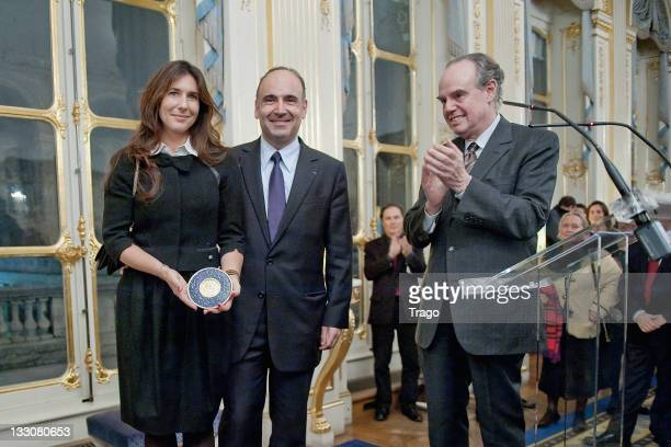 Philippe Journo Karine Journo and the French Minister for Culture Frederic Mitterrand are pictured after being awarded at the Art Patrons Celebration...