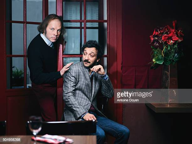Philippe Katerine and Benoit Forgeard are photographed for Trois couleurs on November 6 2015 in Paris France