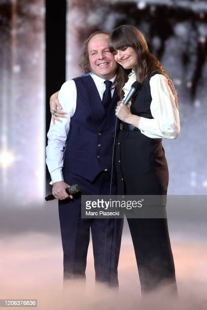 Philippe Katerine and Clara Luciani perform during the 35th 'Les Victoires De La Musique' Show At La Seine Musicale on February 14 2020 in...